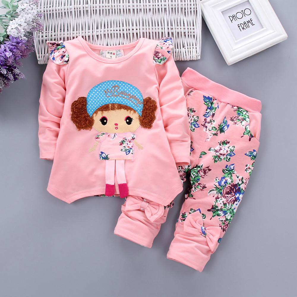 Girls' Chic Floral Print Long Sleeve Clothing Set - davidissimo