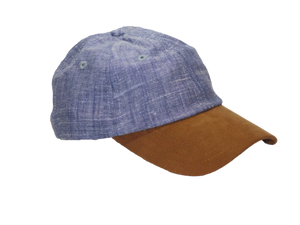 "Elusive Society - ""No. 325"" Minimalist Linen Hat Blue Marl With Suede Bill"