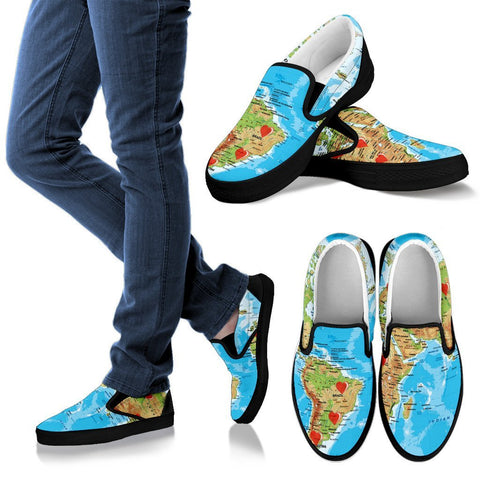 Valentine's Day Special World Map Print Slip Ons For Women- Free Shipping