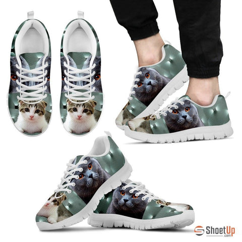 Scottish Fold Cat Print (White/Black) Running Shoes For Men-Free Shipping