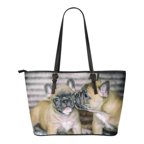 Women's French Bulldogs Kissing Leather Tote