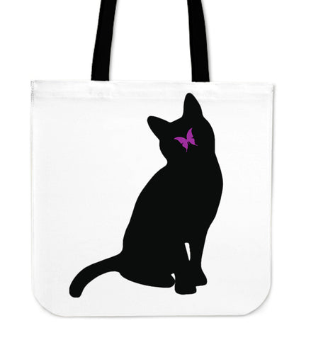 Purple Butterfly and Cat Tote Bag