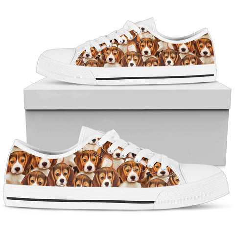 Cute Beagle Puppies Women's Low Top Shoe - White