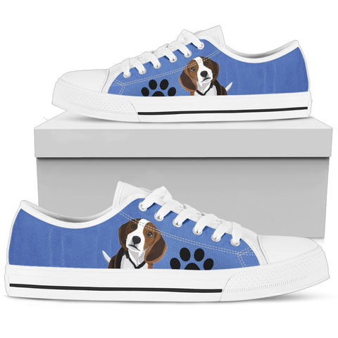 Cute Beagle Women's Low Top Shoe - Blue with White Sole