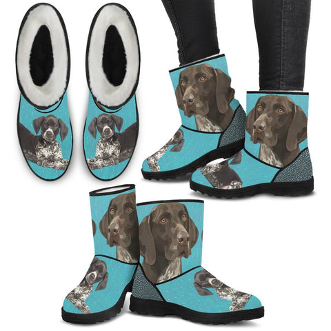 German Shorthaired Pointer Print Faux Fur Boots For Women-Free Shipping