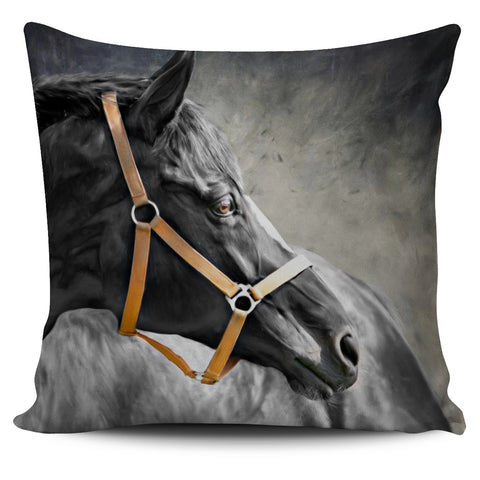 Horse Pillow Cover - Black