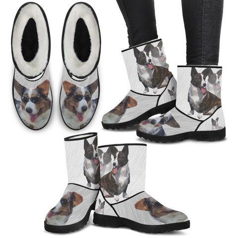 Cardigan Welsh Corgi Print Faux Fur Boots For Women-Free Shipping