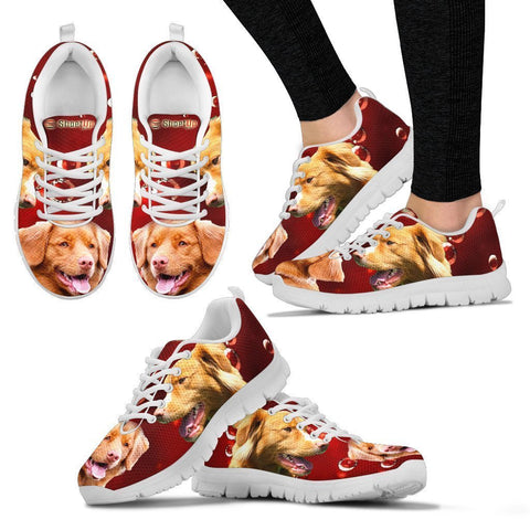 Nova Scotia Duck Tolling Retriever On Red-Women's Running Shoes-Free Shipping