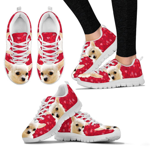 Valentine's Day Special-White Chihuahua On Red Print Running Shoes For Women-Free Shipping