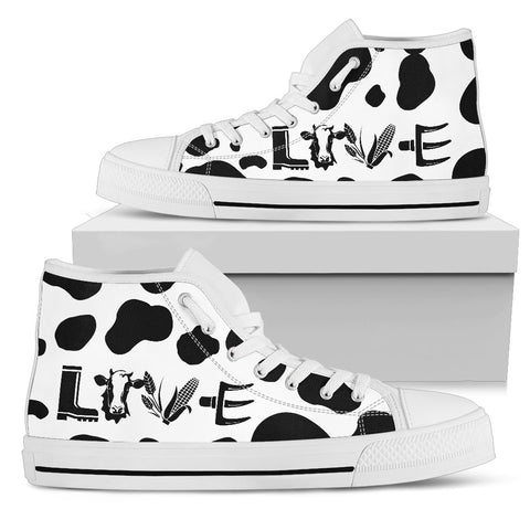 Cow Love Men's High Top - White