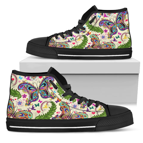 Colorful Butterfly High Top Shoes Black