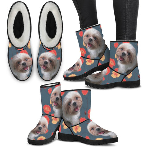 Shih Tzu Print Faux Fur Boots For Women-Free Shipping
