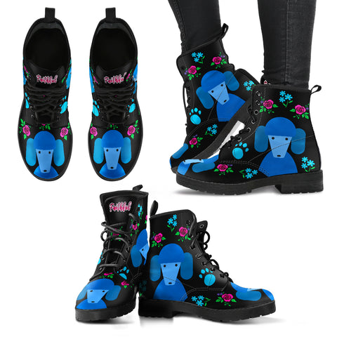 Faithful Poodles Women's Blue Leather Boots for Poodle Dog Lovers
