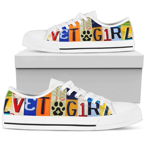 """VET Girl"" License Plate Low Top Shoes for the Veterinarian"