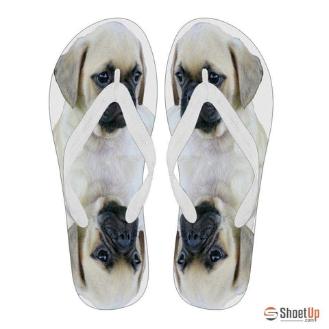 Puggle Puppy Print Flip Flops For Men-Free Shipping Limited Edition