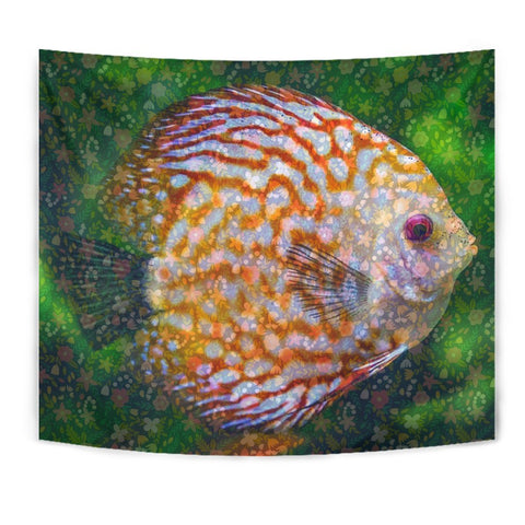Discus Fish Floral Print Tapestry-Free Shipping