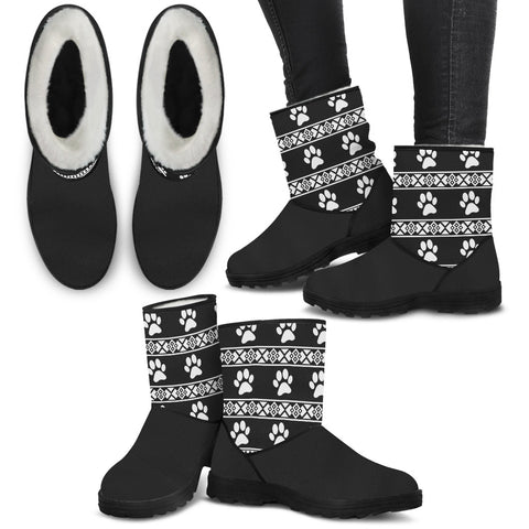 Paw Prints Faux Fur Boots For Women