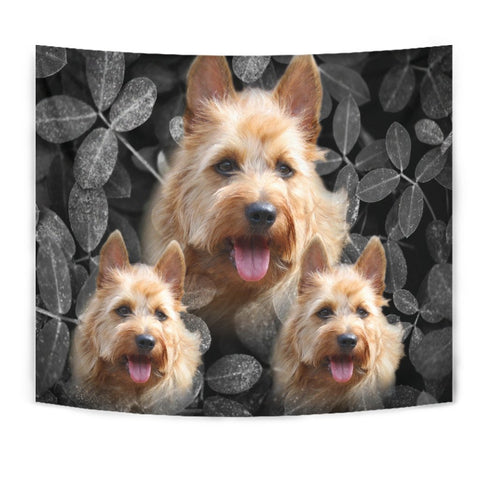Australian Terrier On Black Print Tapestry-Free Shipping