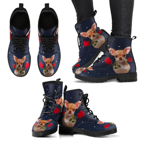 Valentine's Day Special-Chihuahua With Rose Print Boots For Women-Free Shipping