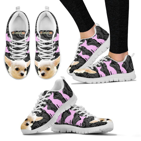 Chihuahua On Black-Women's Running Shoes-Free Shipping