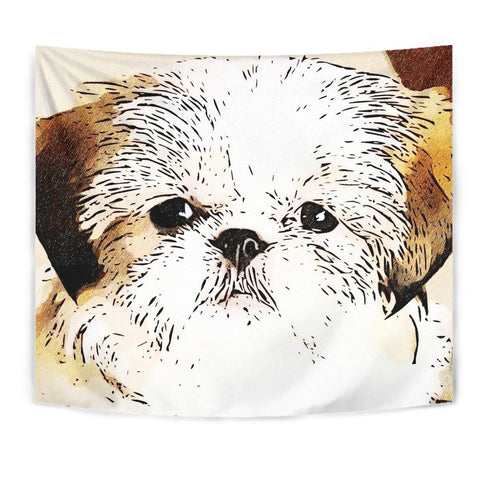Cute Shih Tzu Dog Print Tapestry-Free Shipping