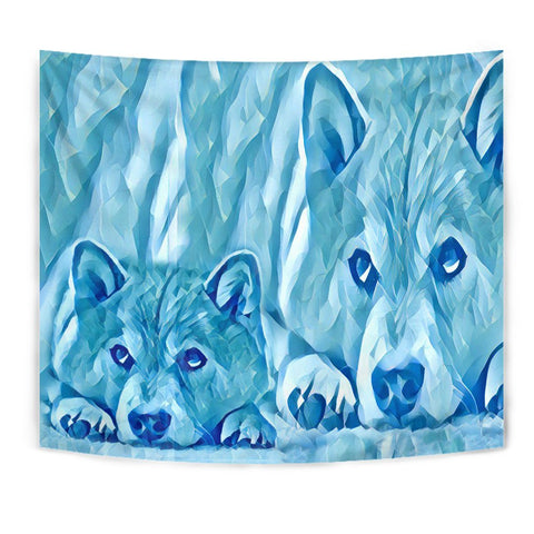 Shiba Inu Dog Snow Art Print Tapestry-Free Shipping