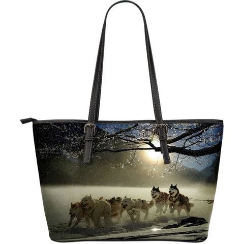 Sled Dog Large Leather Tote Bag
