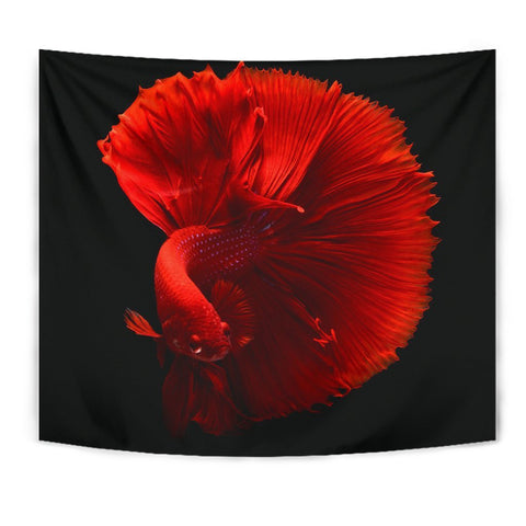 Red Siamese Fighting Fish (Betta Fish) Print Tapestry-Free Shipping