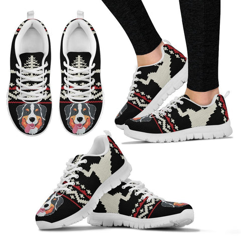 Bernese Mountain Dog Christmas Running Shoes For Women- Free Shipping
