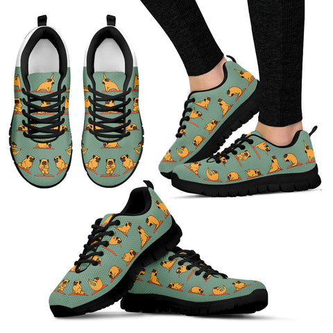 Yoga Pug Women's Sneakers - Black