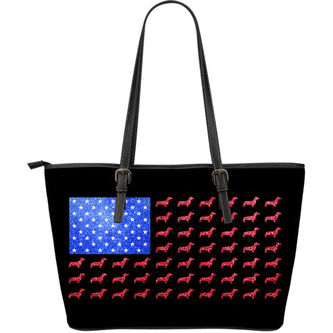 American Dachshund Flag Leather Tote Bag - Extra Large