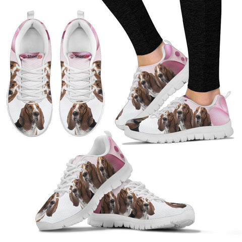 Basset Hound Pink White Print Running Shoes For Women-Free Shipping
