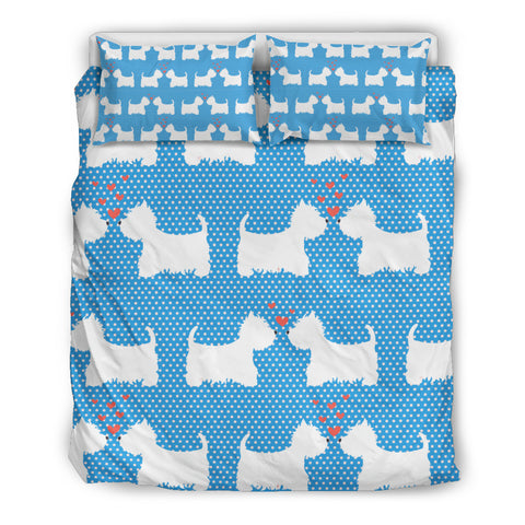Westie Blue Bedding Set