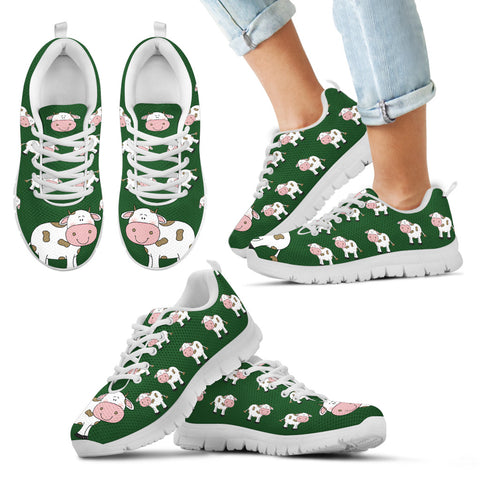Cow Sneakers Kid's Sneakers - Green with White Soles