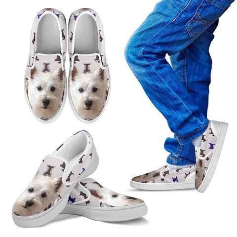 West Highland White Terrier Print Slip Ons For Kids- Express Shipping