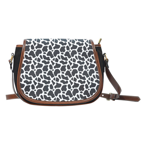 Cow Animal Print Canvas Saddle Bag