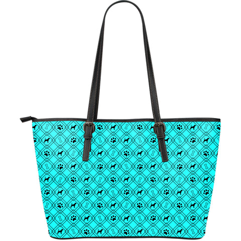 Light Blue Dog Lover Large Leather Tote