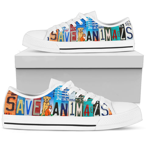 """Save Animals"" License Plate Low Top Shoes for Animal Lovers"