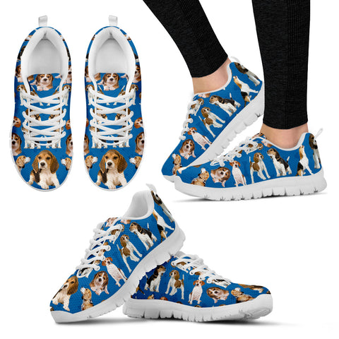 Beagle Lovers Women's Sneakers - Blue with White Soles