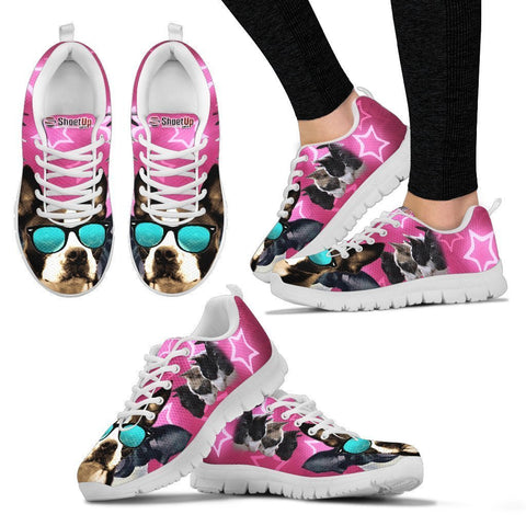 Boston Terrier On Pink Print Running Shoes For Women-Free Shipping