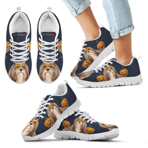 Lhasa Apso Happy Halloween Print Running Shoes For Kids/Women-Free Shipping