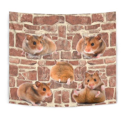 Djungarian Hamster On Wall Print Tapestry-Free Shipping