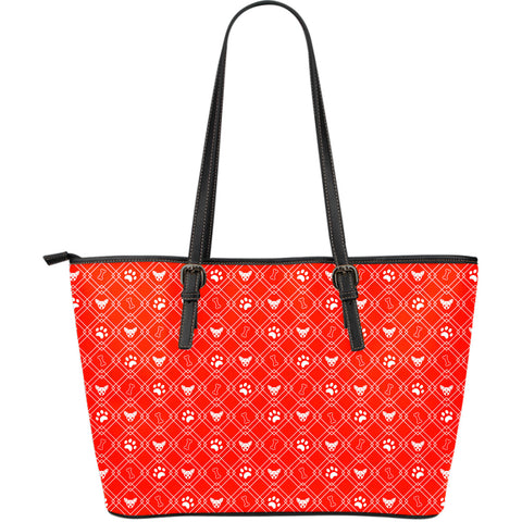 Red Dog Lover Large Leather Tote