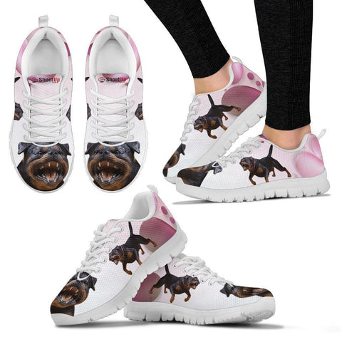 Rottweiler Pink White Print Running Shoes For Women-Free Shipping