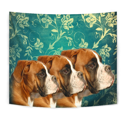 Boxer Dog On Blue Print Tapestry-Free Shipping