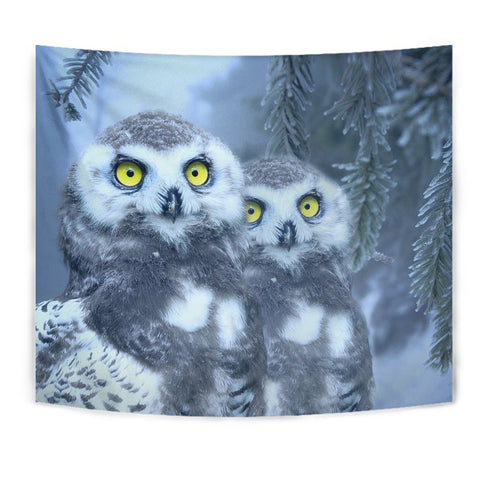 Snow Owl Bird Print Tapestry-Free Shipping