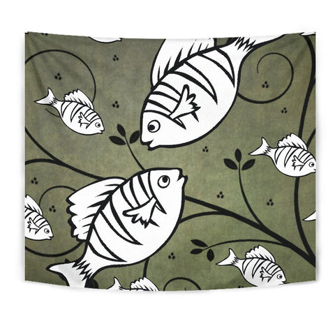 White Fish Print Tapestry-Free Shipping