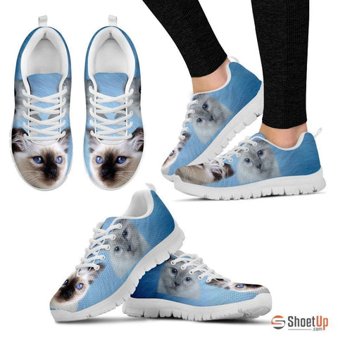 Cute Birman Cat Print Sneakers For Women(White/Black)- Free Shipping