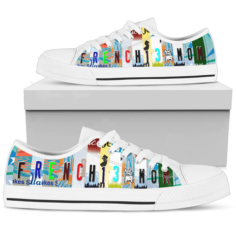 """Frenchie Mom"" French Bulldog Shoes - License Plate"
