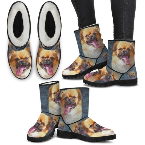 Tibetan Spaniel Print Faux Fur Boots For Women-Free Shipping